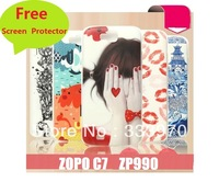 Free Screen Protector Gift!! 2PCS/Lot NEWEST 2013 Cartoon Printed Hard Back Case For ZOPO ZP990 Phone Cover Fits ZOPO C7 Case