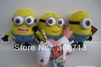 Wholesale 50 pcs/lot Free shipping Despicable Me With 3D Eyes Minion Plush Doll, plush toy (25cm)
