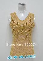 2013 summer beaded lace women's basic shirt plus size clothing spaghetti strap paillette female vest