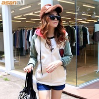 Asanall2013 autumn and winter women plus size mm color block decoration with a hood fleece thickening sweatshirt