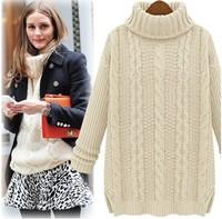 Женский пуловер 2013New Women Fall Winter European Design Fashion Irregular Rose Print Loose Cutout Batwing Sleeve Knitted Sweaters White/Black