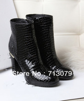 FREE Shipping fashion designer brand c genuine leather zipper high heel booties boot women shoes genuine chaussure woman femme