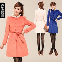 2013 autumn and winter women slim woolen overcoat woolen outerwear female 0351