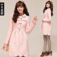 2013 woolen outerwear overcoat pink bow lace wool coat outerwear 0486