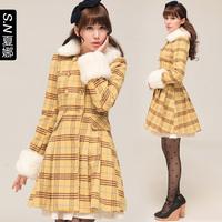 2013 autumn and winter woolen outerwear check double breasted medium-long slim fur collar woolen overcoat 0475