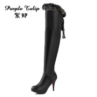 Women boots 2013 winter high fashion genuine leather high-heeled knee boots rabbit fur over-the-knee cowhide boots x694 pumps