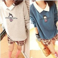 Women's autumn 2013 long-sleeve sweater basic shirt female t-shirt school wear small lapel sweatshirt