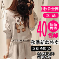 Autumn new arrival 2013 women's plus size casual sweatshirt set skirt loose long-sleeve sweatshirt autumn and winter one-piece