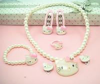 Crystal Hello Kitty Children Jewelry Set hairpins 7 cartoon children clothing sets jewelry gift CSE0007