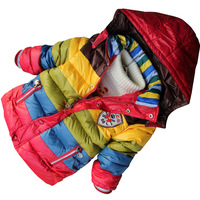 NEW Fashion Children Kids Parkas Winter  Coat Jacket  Rainbow Design Warm Outerwear HOT Selling TT5381