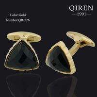 Newsest titanium steel 18k gold plated cuff Links high quality triangle black stoneTourbillion cufflinks gift QR-226-G