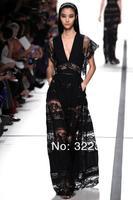 2014 New Arrival Elie Saab Dress V Neck Sexy Fashion Floor Length Black Lace elie saab Evening Dress Gowns