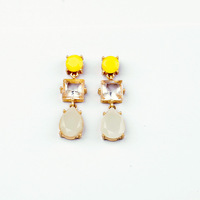 MIN/MIX ORDER $10.0 Free Shipping New Arrival Encrusted Resin Beads Water Drop with Crystal Lady Charm Earrings Gold Plated NWOT