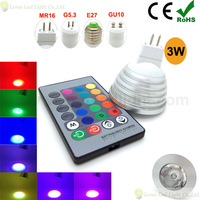 5pcs/lot 12V MR16 3W RGB Led Light,MR16 GU10 G5.3 E27 Led Lamp RGB with IR Remote,RGB Led sylw