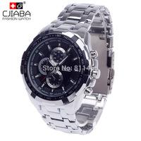 2014 Best Mens Watch Black Stainless Steel Quartz Watches Men Military Quartz Watch CJIABA 14004
