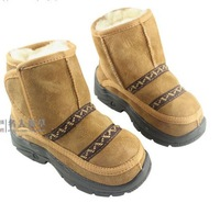New Genuine Leather  Kids Winter Fashion Casual Boots Children Anti-Skid Snow Boots (Size 22-35) 7534