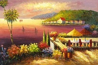 Beautiful hand-painted oil landscape painting decorative painting murals entrance DZH-11