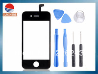 For Iphone 4S Digitizer Touch Screen Replacement Touch Glass& 7 in 1 Opening Tools White Black Free Shipping