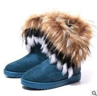 2013 winter warm high long snow boots artificial fox rabbit fur leather tassel women's shoes,size 35-41 key021