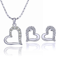 2014 newest Free Shipping White Gold Plated Heart Necklace Earrings  Make With Wholesale Fashion Jewelry