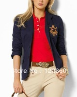 Women's polo Blazer Jackets USA Brand Casual Green 100% Cotton Suit Jacket for ladies Drop Shipping
