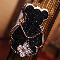 Wholesale Trendy Fashion Bear Pendant Rhinestone Metal Hollow Necklace Women Sweater chain Charm Gift Refinement Jewelery