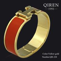 High Quality Orange Enamel H Design Bracelet Special Clasp Women Bangle QR-228