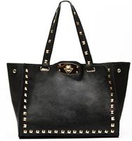 New 2014 Hot Fashion Punk Vintage Square Rivet Studded Turn Lock Tote Black Hand Bag, Lady Women Luxury Designer Discount Item