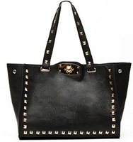 New 2014 Hot Fashion Punk Vintage Square Rivet Studded Turn Lock Tote Black Hand Bag, Lady Women Luxury Designer Discount Item