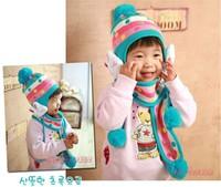 2013 Fashion Winter Warm Knitted Lovely Rabbit Baby Cotton Cap Muffler Children Cartoon Kid Hats Scarf Set  Free shipping