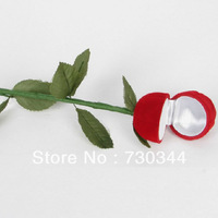 Red Rose Flower Velveteen Rings Jewelry Display Box, box: 40x42mm, whole length: 260mm, sold by lot(12pcs/lot)