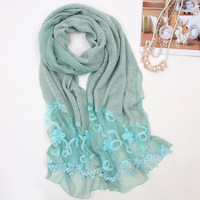 High quality women fashion embroidered scarfs ,winter patchwork lace shawls PT4193