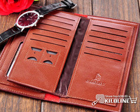 Leather Men's long Wallet Pockets + Card Slots Purse bag MLW003
