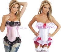Free Shipping Sexy White Busiter steel bone corset Waist Stain Boned Corset With G-string Size S-2XL