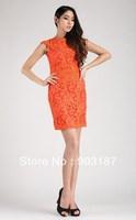 Runway Fashion Wholesale & Retail Women's new Slim British style embroidered sleeveless dress KC178 Free shipping