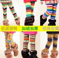 5pcs/lot Children Winter Leggings Girl's Colorful Plus Velvet Thickening Thermal Legging Trousers,Kids Bootcut For4-11years old
