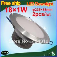 HOT!!! 2pcs downlights leds Non-dimmable 18w 1300LM sandblasting aluminium led downlight celing light cool/warm white