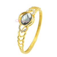 Womens Ladies 18k Yellow Gold Filled Link Bracelets Big Grey/White Gem Bangles W Crystal Wedding Gold Jewelry Dia.61mm Openable