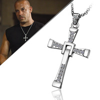 18KGP N705 Free Shipping High Quality 18KGP Gold Plated Fast and Furious Cross Necklace Jewelry for Men