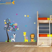 monkey elephant lion zoo wall sticker for kids rooms zooyoo5091 decorative home decoration removable pvc wall decal