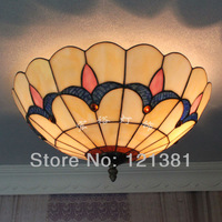 Tiffany Style Tulip Ceiling Lamp Stained Glass Lampshade Handcrafted Classic Style Lighting Fixtures 40CM Wide Simple Design
