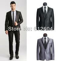 Stylish Bridegroom wedding suits two pieces blazer with pants black and grey suits for evening bling businessmen clothes