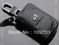 Free Shipping For volvo Series Car Genuine Leather Car Key Case Holder Cover + Alloy Keychain New Beautiful printing.