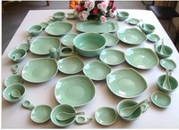 Celadon tableware quality rose pattern 58 dinnerware set powder