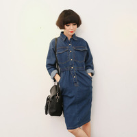 Free Shipping fashion elastic single breasted denim dress women's autumn and winter long-sleeve top