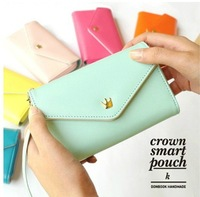 Crown smart pouch leather PU wallet case handbag for iPhone/Galaxy S/Smart Phone, comestic Jewelry bag