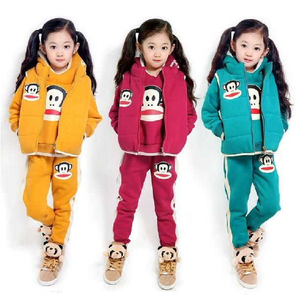 Free shipping! Kids 2013 Winter men and women plus thick velvet big boy cartoon sweater vest jacket Parure(China (Mainland))