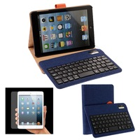 Detachable Fiberflax Bluetooth & Wireless Keyboard Case Cover Stand For Apple iPad Mini 2 + LCD Flim Screen Protector