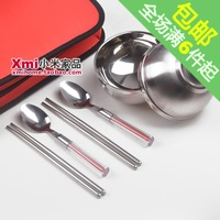 New arrival 201 magnetic stainless steel lovers tableware six pieces set non-woven skgs spoon chopsticks bowl portable
