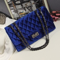 Fashion small deerskin velvet bags 2013 autumn and winter women's plaid chain bag one shoulder cross-body women's handbag